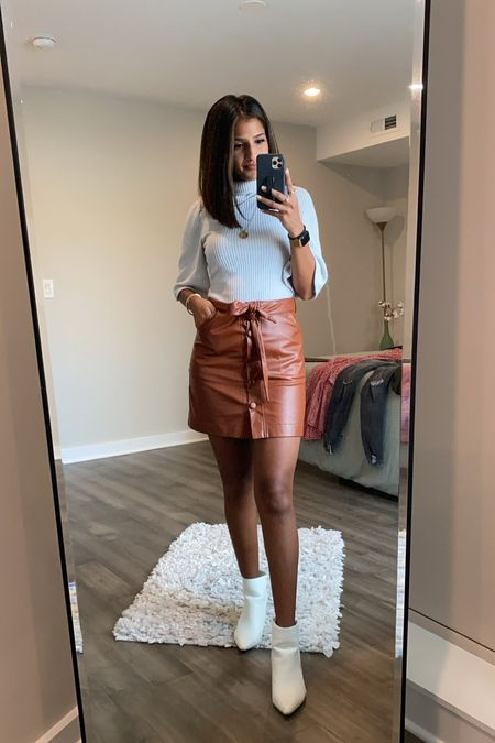 one of my fave summer to fall transition outfits 🍁🍂  ✨bummed my exact top and skirt are sold out, but linked a ton of similar ones!✨  ✨booties are still available and SUCH a good fall staple 🤍 they're TTS - I'm in a US8.✨  #sheinfashion #sheinfinds #shein #amazonfashion #fallfashion #affordablefashion #affordable   #LTKshoecrush #LTKunder50 #LTKstyletip