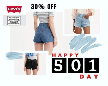 SALE ALERT! 501 Day! 30% Levi's today! Levi jeans, Levi's, Levi denim, shorts, dresses, skirts, jackets, summer shorts http://liketk.it/3fHgZ #liketkit @liketoknow.it #LTKsalealert #LTKunder100 #LTKstyletip