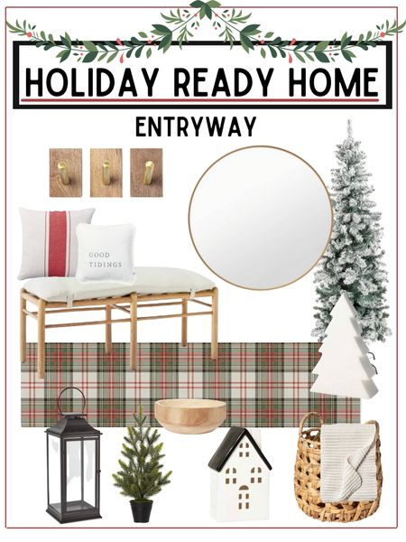 Refresh your entryway or spruce it up for holiday guests!   All home furnishings are from target and linked below!          Entryway decor , Home decor , Christmas decor , holiday decor ,  home furnishings , Christmas tree , flocked tree , console table , mirror , target style , target home decor , target Christmas , rug , area rug , ruggable , storage baskets #ltkunder50 #ltkseasonal #ltkstyletip  #LTKhome #LTKHoliday #LTKSeasonal
