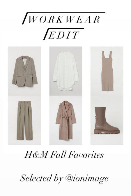 Workwear Edit: H&M Fall Favorites 🍁 Beige pantsuit, white satin blouse, oversized coat, ribbed bodycon dress and beige tracksole boots 🍁  #workwear #officestyle #businessstyle #businesswear #officewear  #LTKstyletip #LTKworkwear #LTKunder100