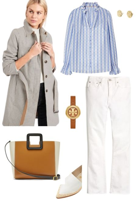 Who's ready to transition into spring? I know I am! Love these kick flare white jeans paired with a pretty blue long sleeve blouse and macrame detail while loafers (2 colors available, sure to be a sell out)! This short trench has a subtle check print that adds interest but is neutral enough to pair with most other spring outfits. http://liketk.it/3auyf Screenshot or 'like' this pic to shop the product details from the LIKEtoKNOW.it app, available now from the App Store! @liketoknow.it #liketkit #LTKSeasonal #LTKstyletip #LTKeurope