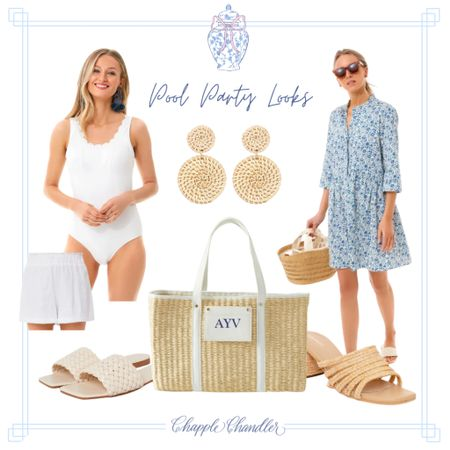 Blue and white scalloped bathing suit Pool party poolside looks beach swimwear bathing suit sun hat straw hat bow hat pink gingham swimsuit swim suit one piece cover up caftan beach bag beach towel outdoor dining entertaining outfit   #LTKSeasonal #LTKswim #LTKunder100
