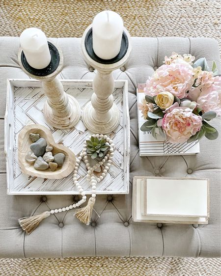 """Coffee Table Styling tip: Divide the surface into 3-4 sections and decorate each section. Make sure you have something taller and something """"living"""" even if it a faux plant or flowers.   http://liketk.it/37EZP #liketkit @liketoknow.it @liketoknow.it.home #LTKhome #LTKunder100 You can instantly shop my looks by following me on the LIKEtoKNOW.it shopping app"""