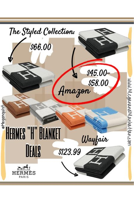 Hermes H Blanket AMAZING DEALS! Inspired by the Hermes Avalon Throw Cashmere Blanket. These are the perfect gift to give anyone as an accent piece for their living room  Amazon: lowest prices  The styled collection: pre-order  Wayfair: sold out   #LTKgiftspo #LTKunder100 #LTKunder50