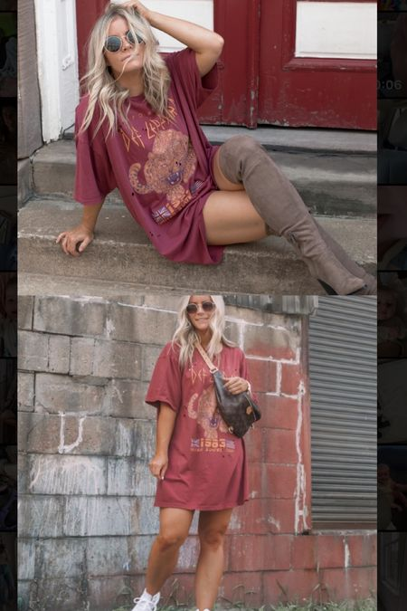 One t shirt dress, two ways! Love the casual look with a white sneaker and the versatility of adding an OTK boot for a night out! Get the look for under $100! Summer outfit, t shirt dress, Nsale   #LTKsalealert #LTKstyletip #LTKunder100