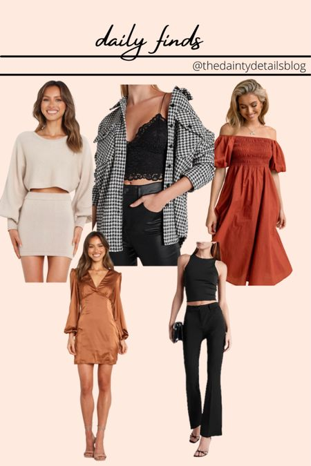 Daily finds: fall dresses, fall outfits, shacket, flare pants, knit set