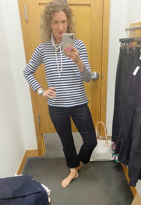 I'm obsessed with this new outfit I got at J. Crew this weekend!  This funnel need sweatshirt is lightweight and amazing! It's so classic! These jeans are the most comfy stretch ever!!!! These are a 26 and the top is an XS. High rise flare crop jeans. With button fly. Way more trendy than I usually do but still very classic!