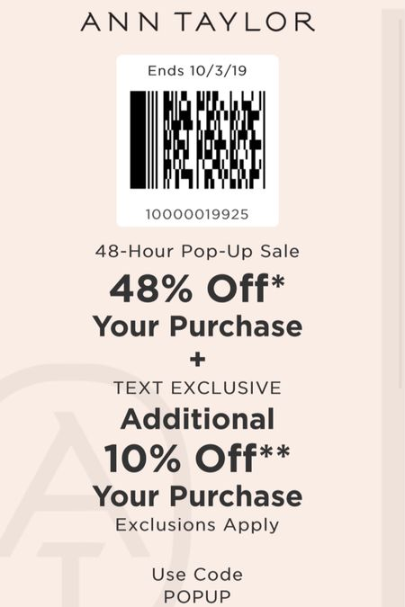 Use codes POP48 + POPUP for 48% off + an extra 10% off at Ann Taylor (use code 10000019925 in store). Valid in stores and online. Sale ends 10/4 at 3AM ET. That comes out to 53.2% off retail after discounts! @liketoknow.it http://liketk.it/2FsEJ #liketkit #LTKsalealert #LTKunder50 #LTKunder100 #LTKworkwear