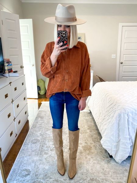 Fall outfit, fall fashion, corduroy shacket, shirt jacket, pumpkin spice color, rust shacket, shacket style! Size: XS    #LTKHoliday #LTKSeasonal #LTKunder50