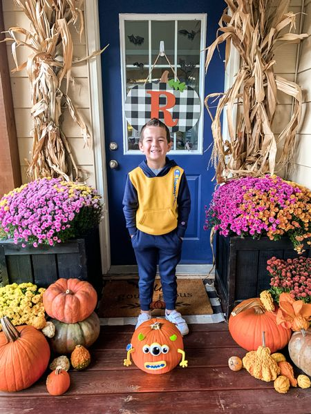 🎃How cute is my pumpkin and his little pumpkin he decorated?! 🎃We are loving all the fall and Halloween crafts @walmart has this year! Instead of carving pumpkins, we used the awesome pumpkin stickers and plastic push ins. Didn't he do an awesome job?! 👏🏼 Make sure to check my stories to see him and Grant decorate them! AD #walmarthome  . . . #pumpkindecorating #fallporch #fallporchdecor #falldecorating #pumpkincarving   #LTKSeasonal #LTKkids #LTKHoliday