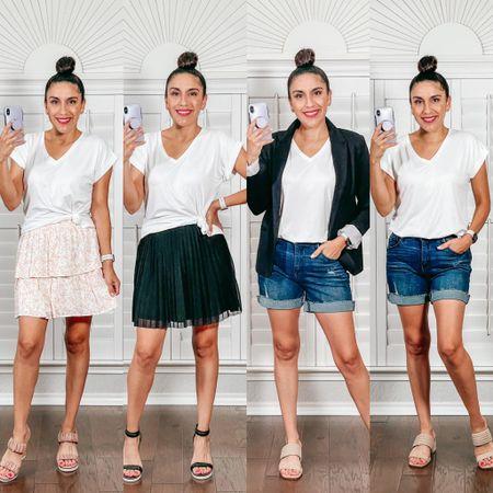 Business Casual white tee denim shorts black Blazer skirt   #LTKshoecrush #LTKunder50 #LTKstyletip