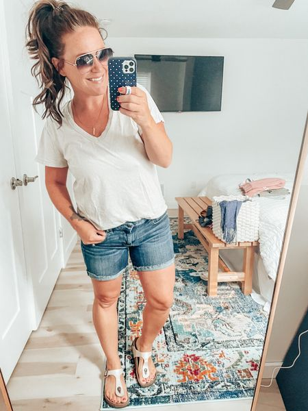 Favorite summer mama 'fit means the best tee and denim shorts! Can't live without my Birks either. Quay sunglasses on sale during the #nsale.   #LTKunder100 #LTKsalealert #LTKshoecrush