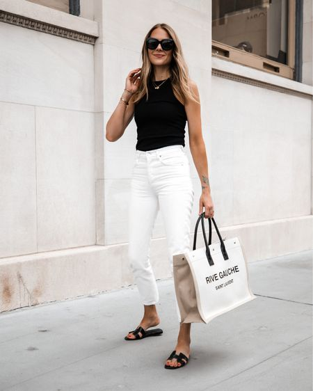 Yes you can still wear white jeans after Labor Day and while it's hot I like to pair with a black tank and my black Hermès sandals   #LTKstyletip #LTKunder50 #LTKunder100