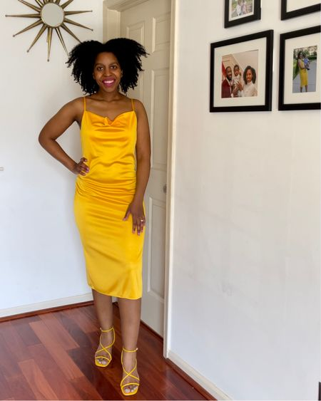 Try a monochromatic look with a yellow slip dress and sandals http://liketk.it/3eMT2 #liketkit @liketoknow.it #LTKstyletip #LTKshoecrush #LTKfit