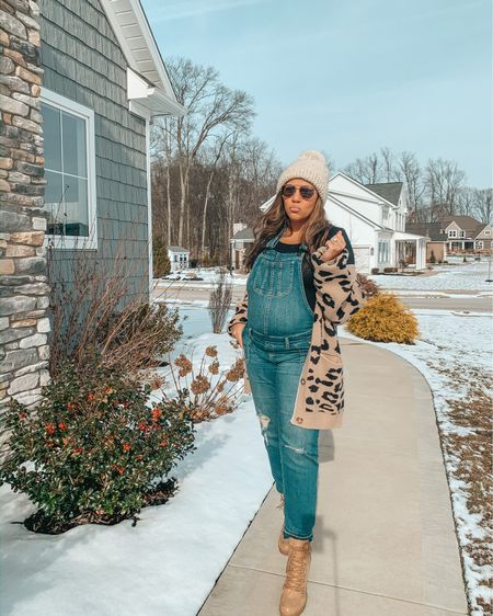 Happy BUMP day 👶🏻🤰🏻 Loving these maternity overalls I found for under $50 🙌🏼 They are so comfy, stretchy and run TTS (I'm wearing a M and I'm #26weekspregnant) Leopard cardi is also under $50 and has fit me throughout pregnancy. Had our ultrasound and non-stress test yesterday at the high risk doctor and everything went well! Can't believe we only have 14 weeks left. Shop this entire look on the @liketoknow.it app here ➡️ http://liketk.it/2Jrp7 #liketkit #LTKbump #LTKunder50 #LTKfamily