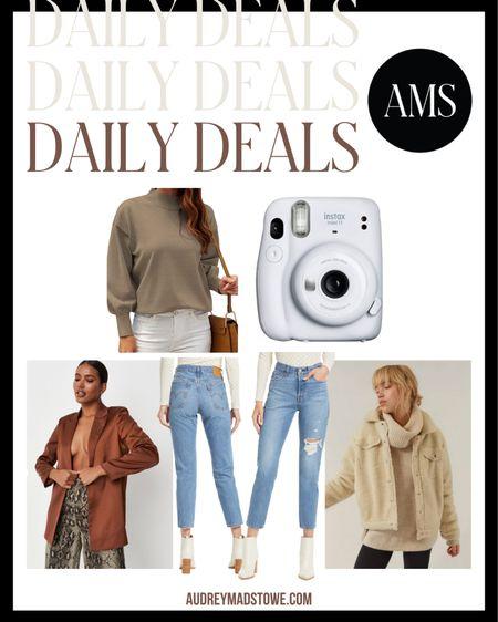 DAILY DEALS!   — Mock neck sweater — Polaroid camera (great Christmas gift!) — Satin blazer — Levi's denim under $100 — Sherpa shacket  #LTKunder100 #LTKsalealert #LTKstyletip