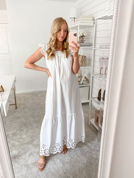 White dress under $50. Runs big I'm wearing a small and I'm 5'5'' for height reference. Needed a little heel without a belt #targetstyle #whitedress #targetfind #ltkunder50 #bumpfriendly