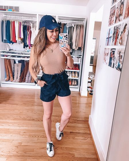 Casual weekend mom outfit  Amazon fashion bodysuit -  S / TTS  Paper bag tie waist shorts - XXS / size down  Star sneakers  Black baseball cap   @liketoknow.it http://liketk.it/3gXcS #liketkit #LTKunder50 #LTKshoecrush #LTKcurves