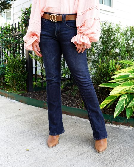 Fall outfit / petite bootcut jeans / dark blue flared jeans / brown belt with gold buckle / amazon fashion find / brown mules / casual workwear   #LTKSeasonal #LTKunder100 #LTKworkwear