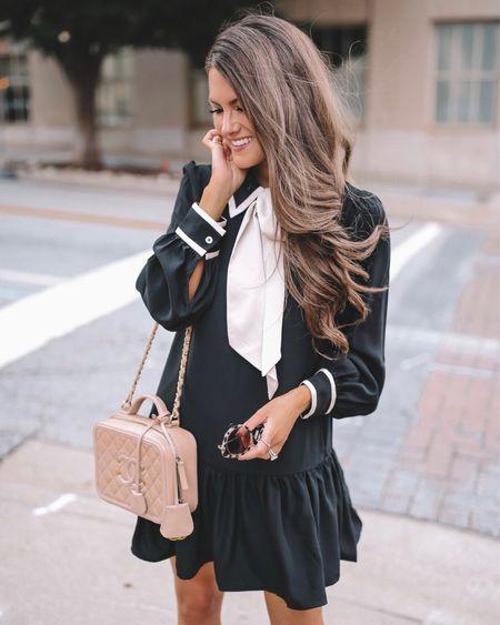 This black bow tie dress is gorgeous for fall! 🍂 Black dress, Chanel handbag, cmcoving, Caitlin Covington, fall fashion, fall dress, nude heels, Miu Miu sunglasses   #LTKSeasonal #LTKunder100