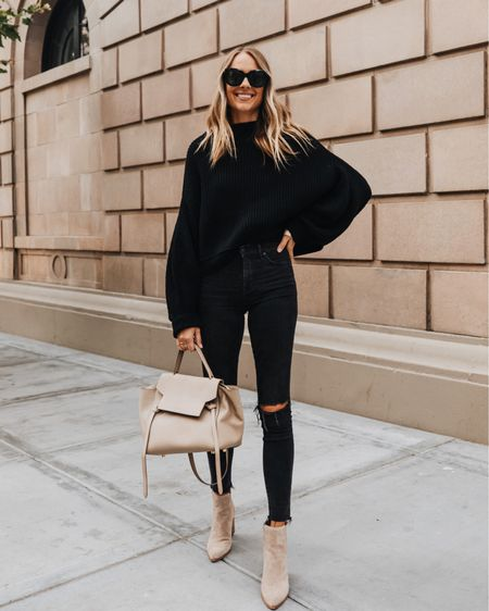 All black for fall with tan suede booties #sweaters #booties #falloutfits   #LTKunder100 #LTKstyletip #LTKshoecrush