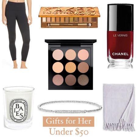 Gift ideas for her under $50. Leggings, makeup, home items, and more.   #LTKHoliday #LTKunder50 #LTKGiftGuide