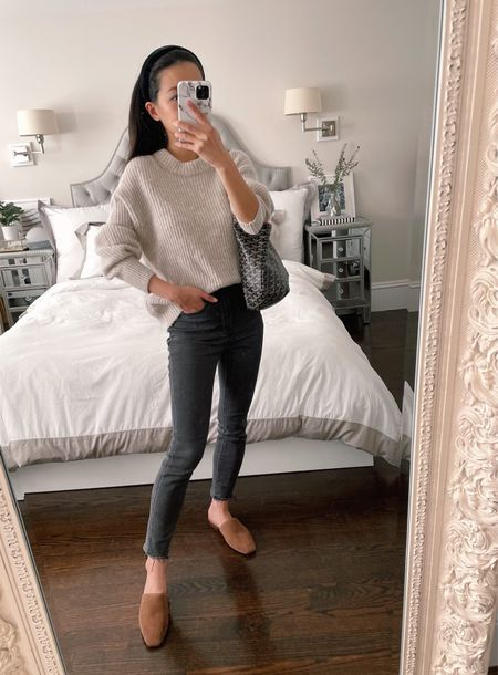 fall sweater outfits // petite style  •Everlane Alpaca oversized crew neck sweater size xxs •Everlane high rise skinny jeans size 24 (hems cut) note that my exact wash is sold out but I've linked a fully stocked black wash •BR mules 5.5 (similar from BR Factory linked)  #LTKSeasonal #LTKstyletip #LTKunder100