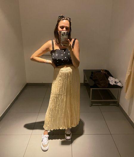 H&M summer outfit. Summer style. Wedding guest outfit. Crinkle skirt. Pleated skirt, yellow skirt, midi skirt.   #LTKstyletip #LTKunder50 #LTKSeasonal