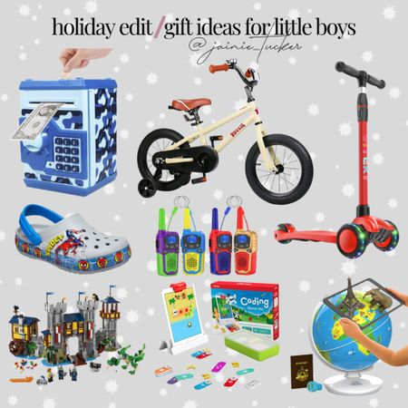 Gift ideas and options for little boys! | #giftguide #holidaygiftguide #kidschristmasgifts #womensholidaygifts #giftsforboys #giftideasforboys #toysforboys #electricscooter #STEMlearning #walkietalkies #LEGOtoys #giftideasforlittleboys #JaimieTucker  #LTKkids #LTKHoliday #LTKGiftGuide