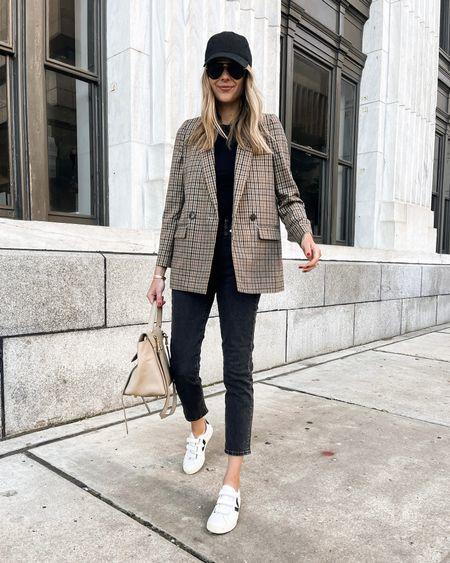 Casual weekend outfit plaid blazer, black jeans, Veja Velcro sneakers #falloutfit #blazer #sneakers   #LTKstyletip #LTKshoecrush #LTKunder100