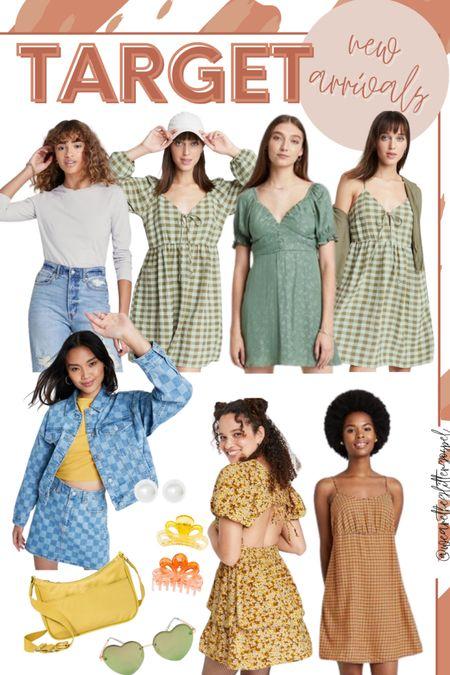 Target new arrivals for fall  Dresses under $30 run TTS Jacket under $40 TTS Tee $8 TTS Hair clips $8 Earrings $8 Bag $20 Sunglasses $14      #LTKunder50