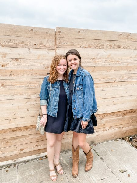 accidental twinning!!!! great mjnds must think a like 🤪❤️   Love the look of a simple dress paired with a denim jacket and cute shoes! Perfect Sunday church outfit :) #LKSspring #churchoutfit #springdress   #LTKSeasonal