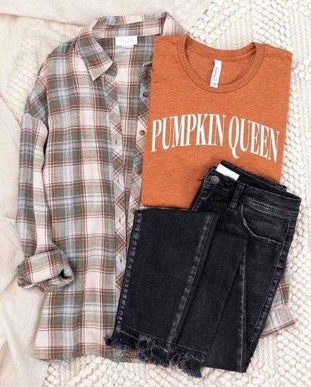 Fall outfits, pumpkin shirt, flannel, plaid, shackets, black plants, flannel shirts, fall clothing, outfits for fall, fall fashion, burnt orange shirt, black jeans, jackets #fall  #LTKunder100 #LTKSeasonal #LTKstyletip