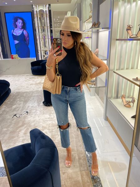 Black Bodysuit, High waisted denim, distressed denim, high waisted ankle cut jeans, flattering outfit ideas, shopping outfit, nude and clear wedges, fall hat, Abercrombie and Fitch, Emily Ann Gemma  #LTKstyletip #LTKunder100