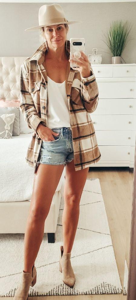 fall outfit| plaid shacket | Booties | Fedora Hat  #LTKSale #LTKSeasonal #LTKsalealert