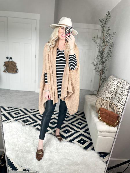 Walmart outfit Cozy wrap- one size  Faux leather leggings- small, size down    #LTKSeasonal #LTKstyletip #LTKunder50