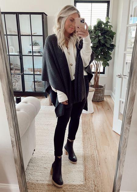 Fall outfits. Cardigan. Poncho. Skinny jeans. Boots. Fall trends.   #LTKunder100 #LTKsalealert #LTKstyletip