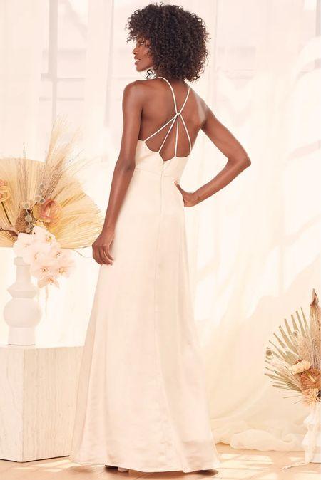 Cream satin maxi spaghetti strap criss cross dress with slit  Engagement session dress   #LTKunder100 #LTKwedding