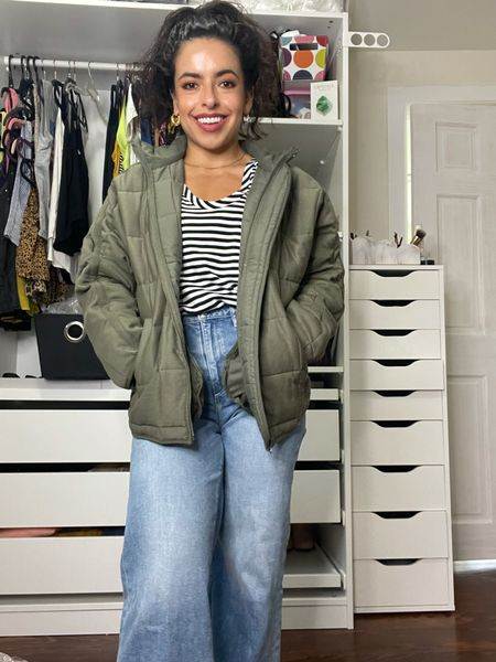 Love this green puff jacket from the Nordstrom anniversary sale it runs a bit big so size down for a more fitted look!  #LTKunder50 #LTKunder100 #LTKsalealert