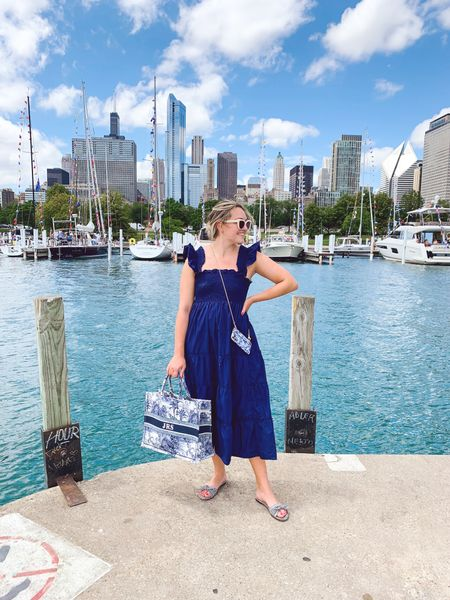 Hill House Nap Dress, J.Crew Bow Slide Sandals (old; linked similar pair), Monogrammed Blue & White Tote (I have the Medium size - linking all of their other prints, too!), Boden Sunglasses (white is sold out, linked similar!)  #LTKstyletip #LTKitbag #LTKSeasonal