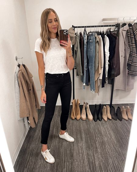 These black skinny jeans are such a great option for fall and Madewell rarely goes on sale! They are high rise and skinny so great to wear with tall boots in fall and winter! They have a little stretch and fit TTS (wearing a 26) #nsale #nordstromsale #liketkit #nordstormanniversarysale #madewell #nordstrom  #LTKsalealert #LTKunder50 #LTKunder100