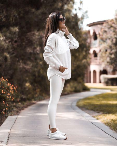 Athleisure style, monochrome style, fleece sweater, comfy style, fall outfit, StylinByAylin   #LTKSeasonal #LTKunder100 #LTKstyletip