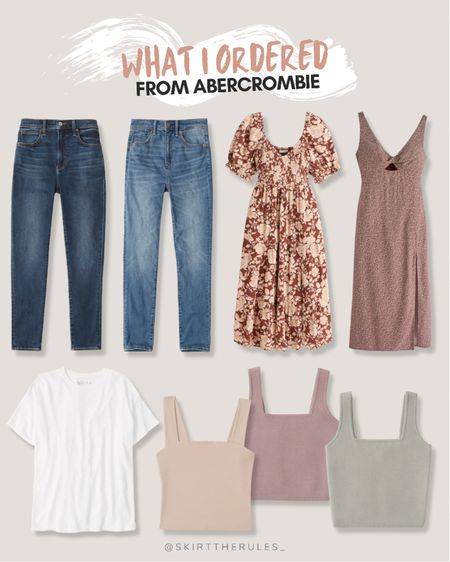 My recent purchase from Abercrombie & Fitch – I went for a few basic tanks that are great for layering, a relaxed white t-shirt (oversized fit), two pairs of high waisted skinny jeans (sized up 2 sizes for my postpartum size), a floral puff sleeve dress and a cutout dress with leg slit.  Abercrombie sale, fall outfits, neutral outfits.  #LTKstyletip #LTKsalealert #LTKunder50