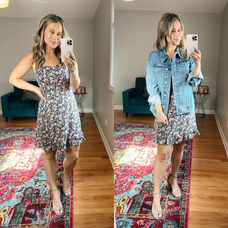 Obsessed with this floral dress! Wearing a medium, it fits tts and this rain jean jacket is on sale for $25 today! Also linked my suede heels http://liketk.it/3jn8r #liketkit @liketoknow.it #LTKsalealert #LTKshoecrush #LTKunder50