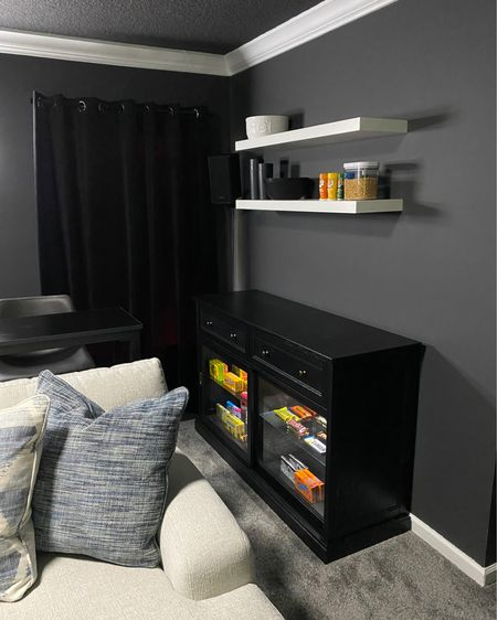 Concession stand for our movie theater! Cabinet and shelves from IKEA  Couch from Rooms to Go - the Cindy Crawford Collection   Behind the couch table, barstools and curtains from Amazon! http://liketk.it/3ehXI #liketkit @liketoknow.it #LTKhome #LTKfamily #LTKsalealert