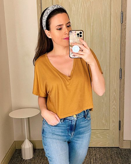 V neck crop shirt in size Small, dolman shirt, beige, tan or green, $15.90, skinny ankle jeans in size 26, frame jeans, casual everyday outfit, summer outfit, nordstrom sale, NSale,   #LTKsalealert #LTKstyletip #LTKunder50