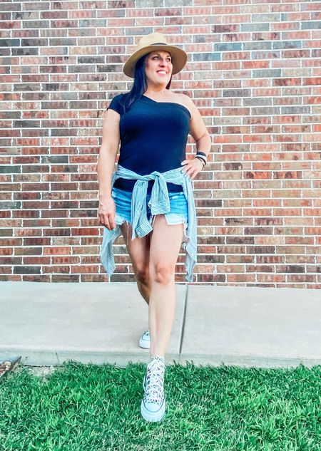 Hands down my favorite outfit so far. I wore this to a baseball game and it was so comfy and cool. The black symmetrical shirt is handmade and the best quality tee I own. I've linked my entire outfit! Stay cool y'all!   #LTKunder100 #LTKshoecrush
