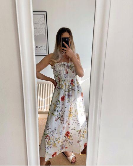 H&M haul, floral dress, bandeau dress, smock dress, summer dress, white dress, pretty dress, day dress http://liketk.it/3hOwr #liketkit @liketoknow.it