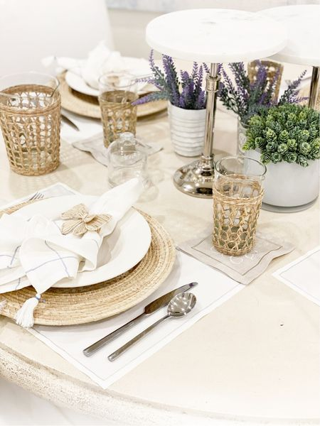 I have collected coordinating pieces for our tabletop that work most of the year.  We use these glasses every day at our home and the wraps help the kids keep a grip on the glass.  These napkin rings look SO high end but are very well priced.    #LTKhome #LTKunder50 #LTKunder100