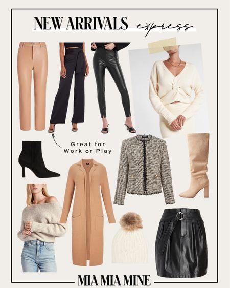 Express new fall outfits Express faux leather pants  Express slouchy boots Express camel Coatigan   #LTKstyletip #LTKunder100 #LTKsalealert